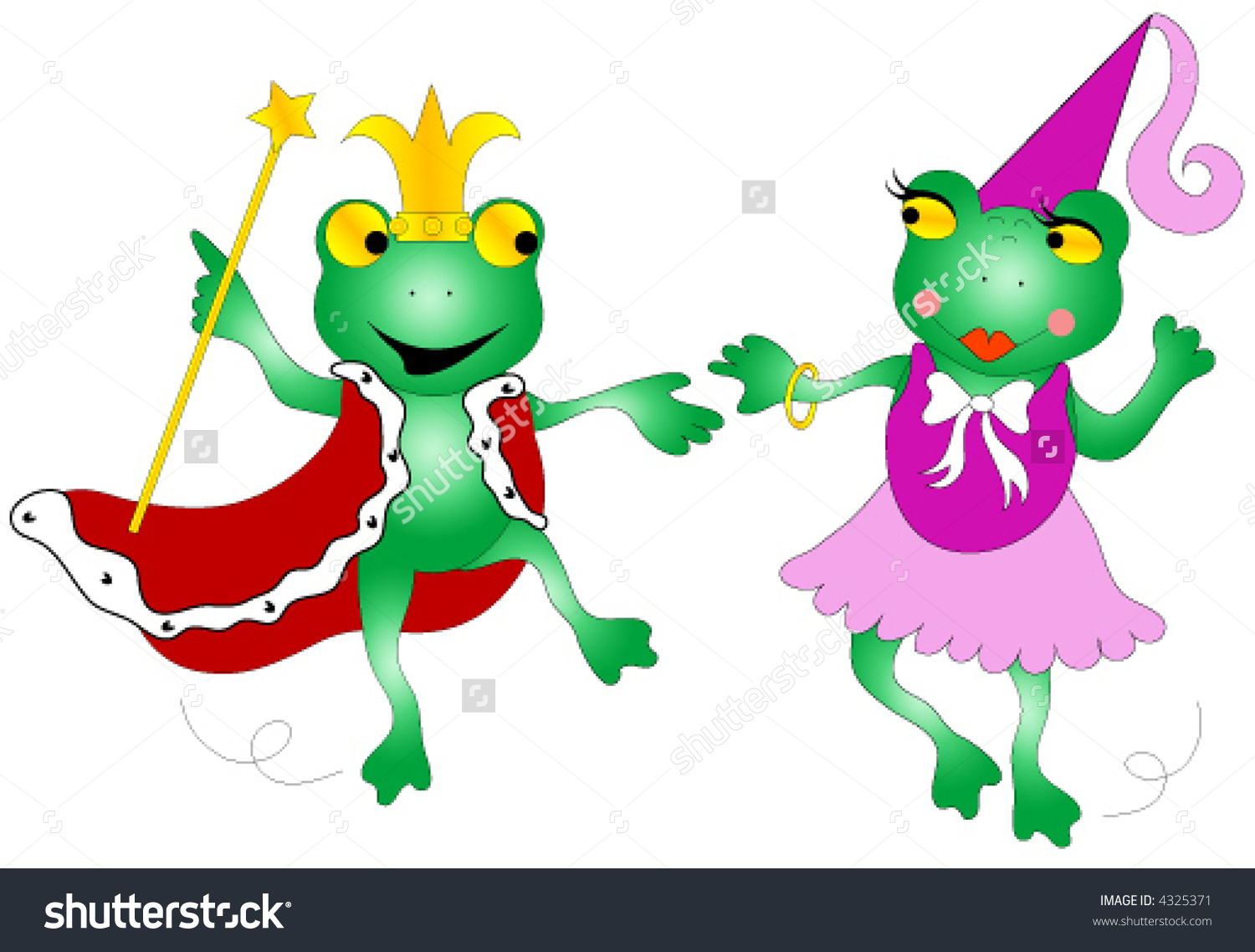 King Queen Frog Dancing Stock Vector 4325371.