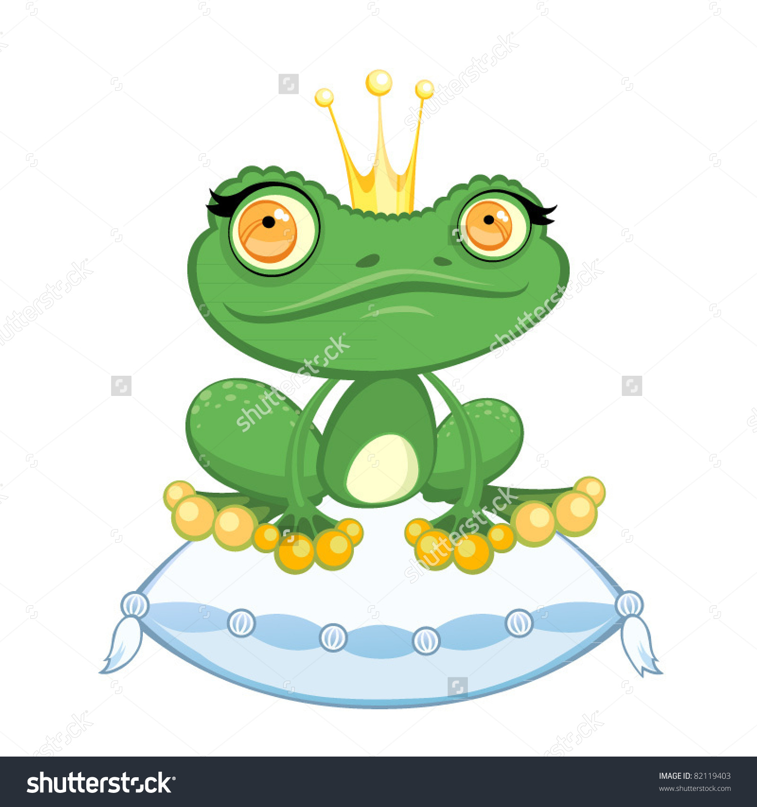 Cartoon Queen Frog On Pillow Stock Vector 82119403.