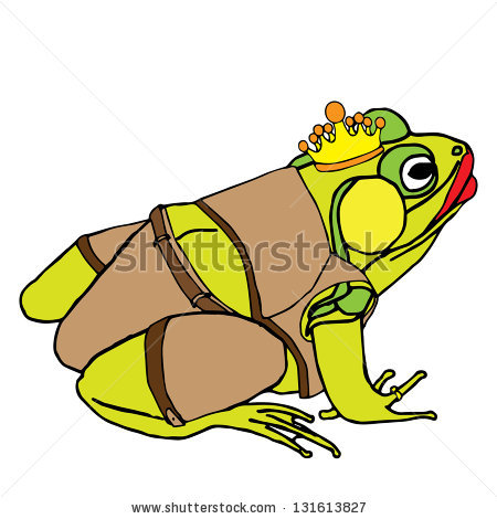 Funny Frog Queen In Clothes An With Crown Stock Vector.