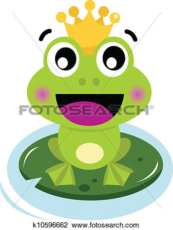 Clipart of Cute surprised Frog Prince isolated on white k10596662.