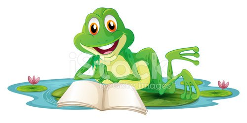 Frog Lying While Reading A Book premium clipart.
