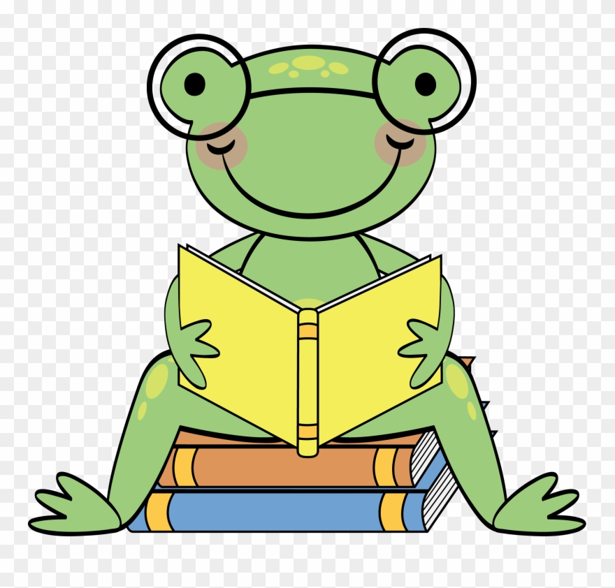 Frog Reading Clipart.