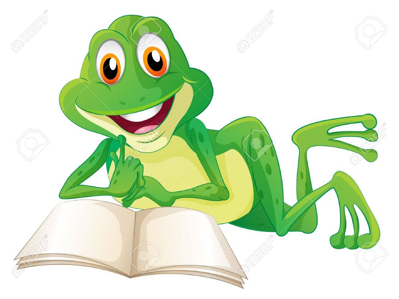Illustration of a frog lying while reading a book on a white...