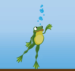 Swimming Frog Clipart.