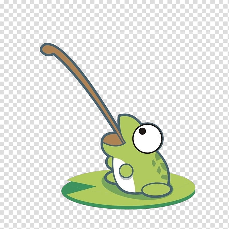 Frog Cartoon, Frog tongue hanging out transparent background.