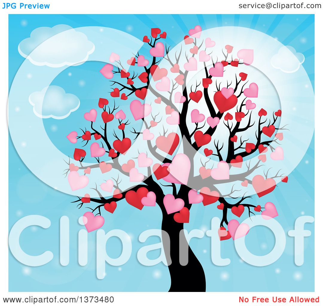Clipart of a Valentines Day Tree with Pink and Red Heart Foliage.