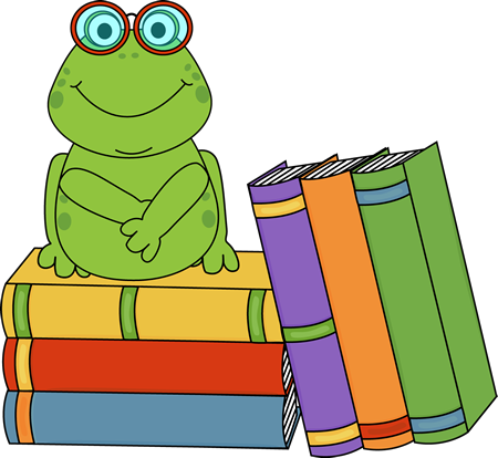 Frog and Books Clip Art.