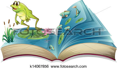 Clip Art of A book witn an image of a frog and fishes k14067856.