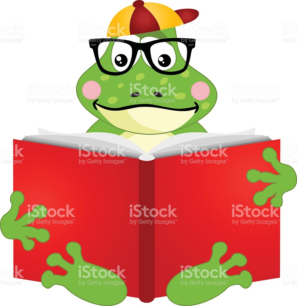 Cute Frog Reading A Book stock vector art 638061226.