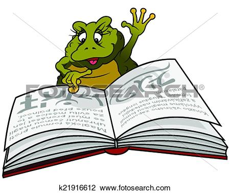 Clipart of Frog Reading Book k21916612.