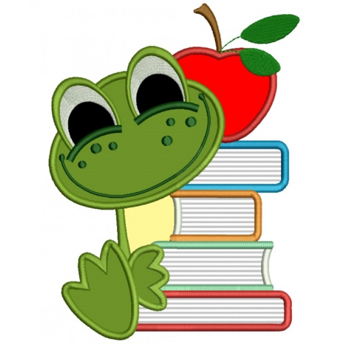 Baby Frog With Books School Applique Machine Embroidery Design.
