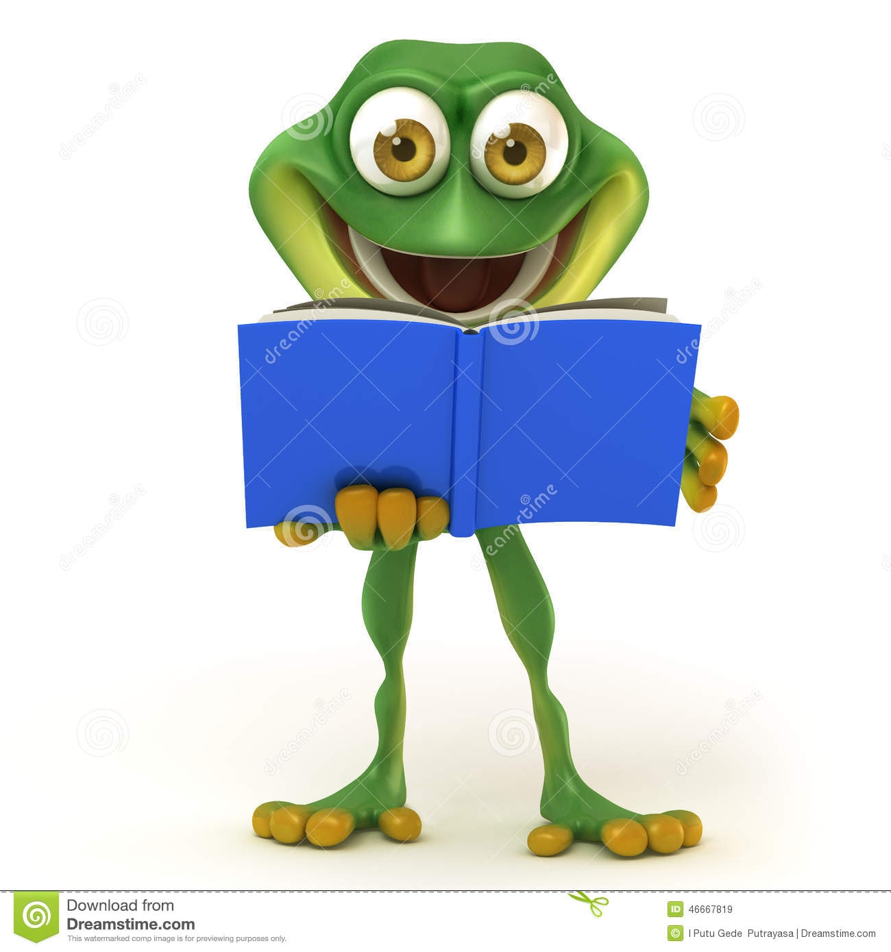 Frog With Book Clipart.