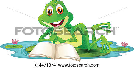 Clipart of A frog lying while reading a book k14471374.