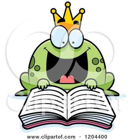 Cartoon of an Excited Frog Prince Reading a Fairy Tale Book.
