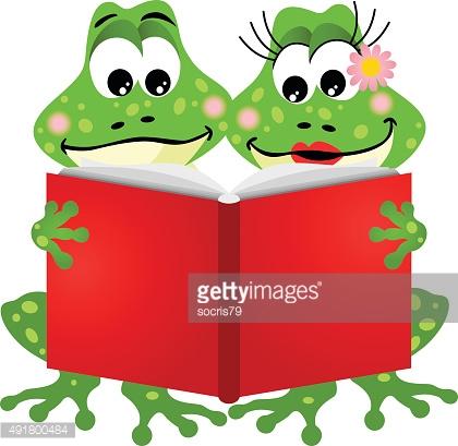 Cute Frog Couple Reading A Book Vector Art.