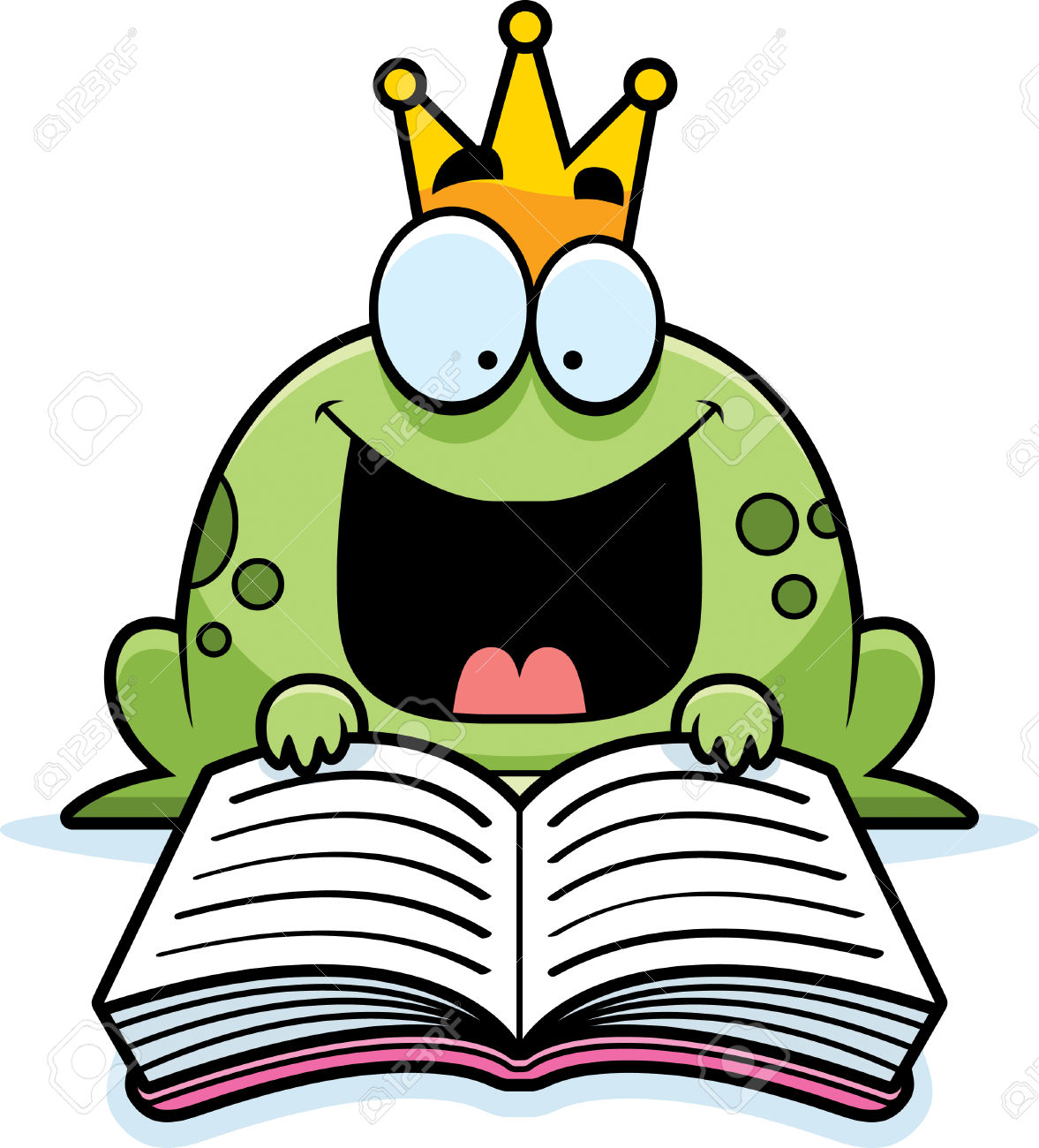 A Cartoon Illustration Of A Frog Prince Reading A Book. Royalty.