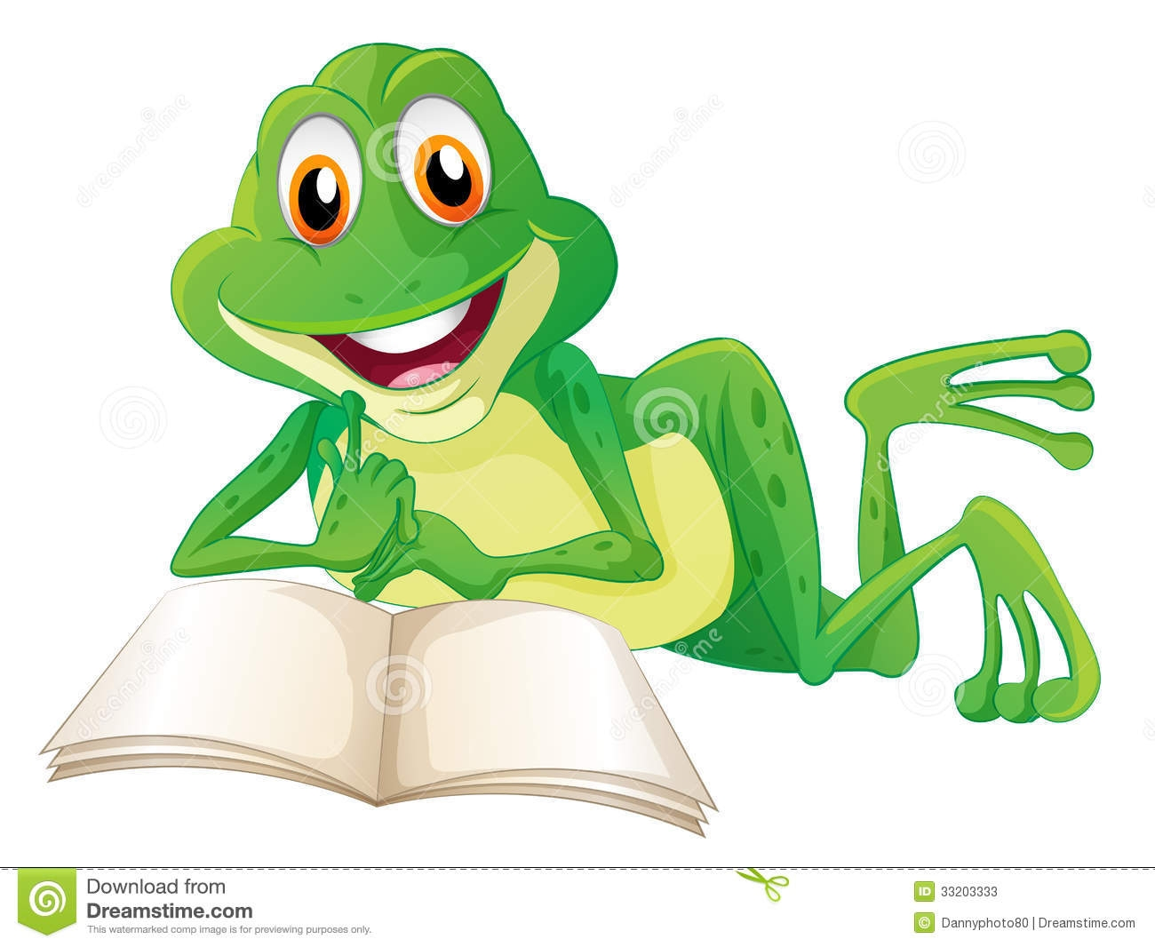 Frog Reading A Book Clipart.