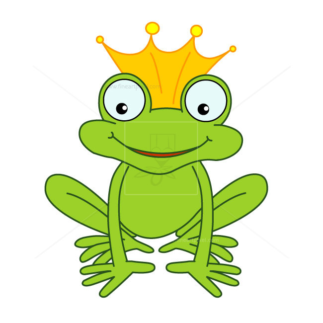 Happy frog with crown.