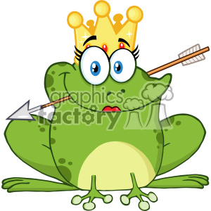 10658 Royalty Free RF Clipart Cute Princess Frog Cartoon Mascot Character  With Crown And Arrow Vector Illustration clipart. Royalty.