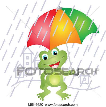 Frog under umbrella Clipart.