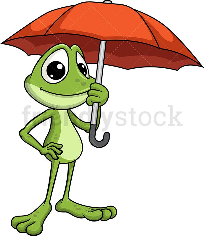Frog Mascot Holding Umbrella.