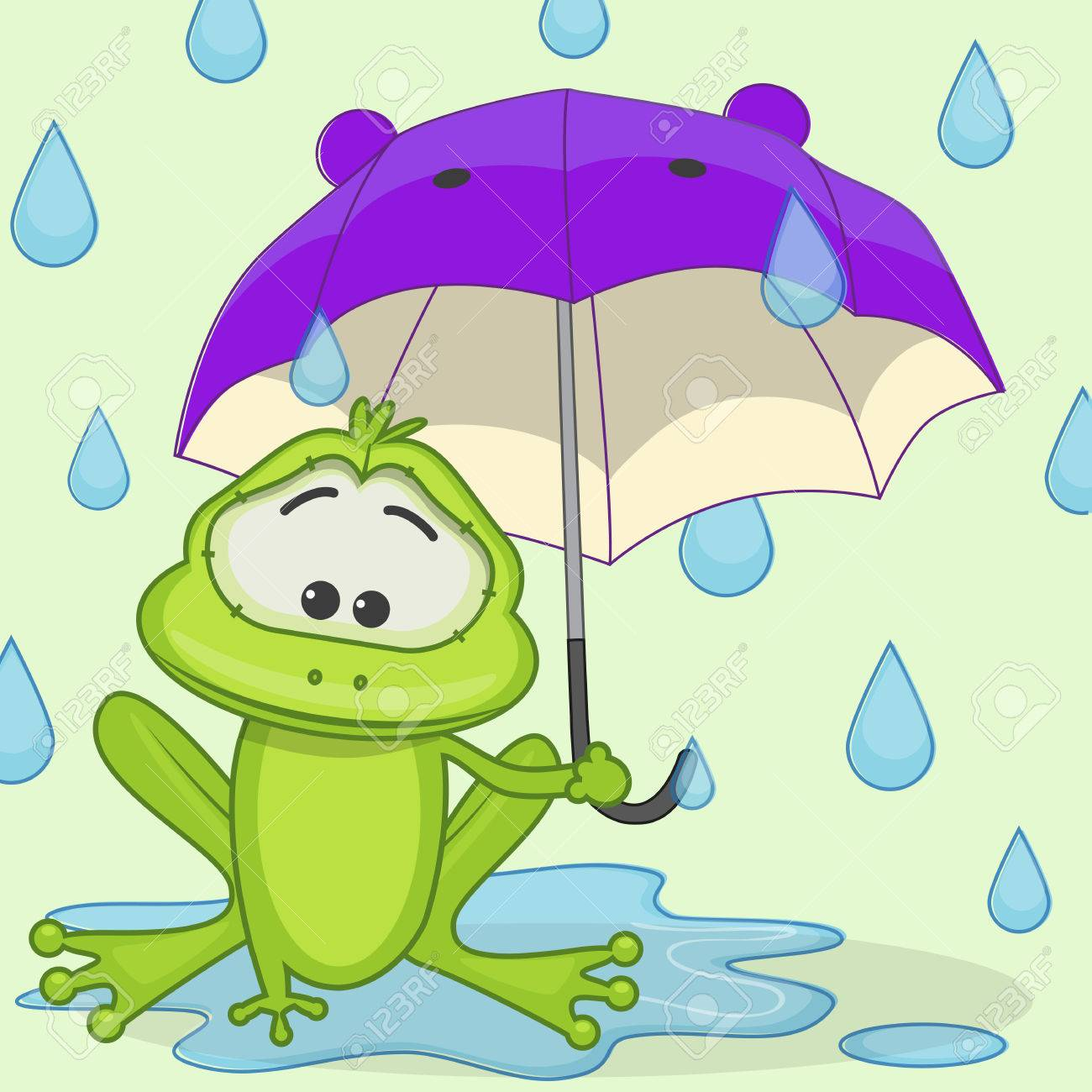 Greeting card Frog with umbrella.