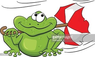 Frog With Umbrella Sitting IN Storm stock vectors.