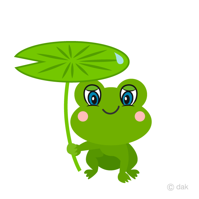 Free Cute Frog with Leaf Umbrella Cartoon Image|Illustoon.
