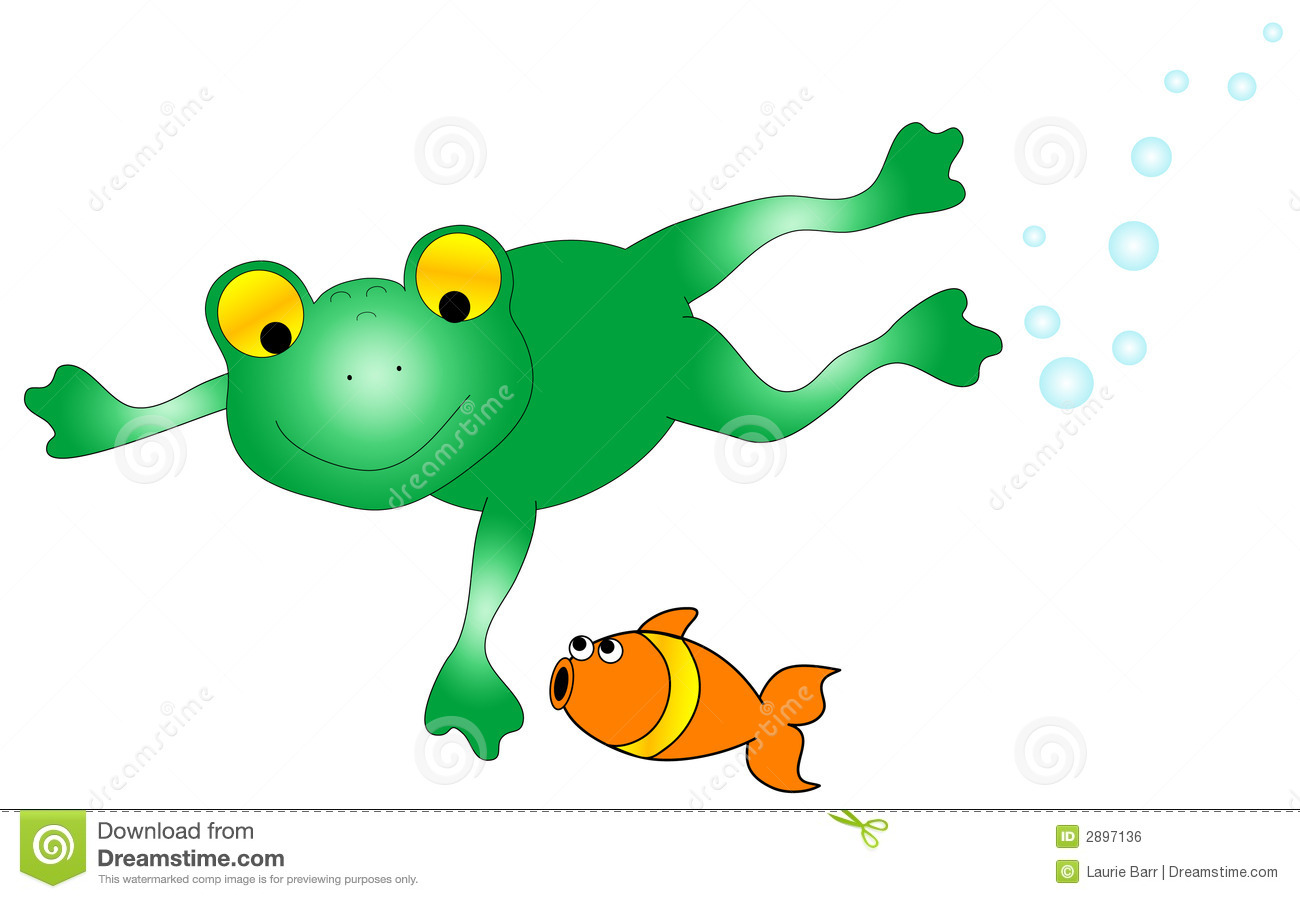 Frog And Fish Graphic Royalty Free Stock Image.