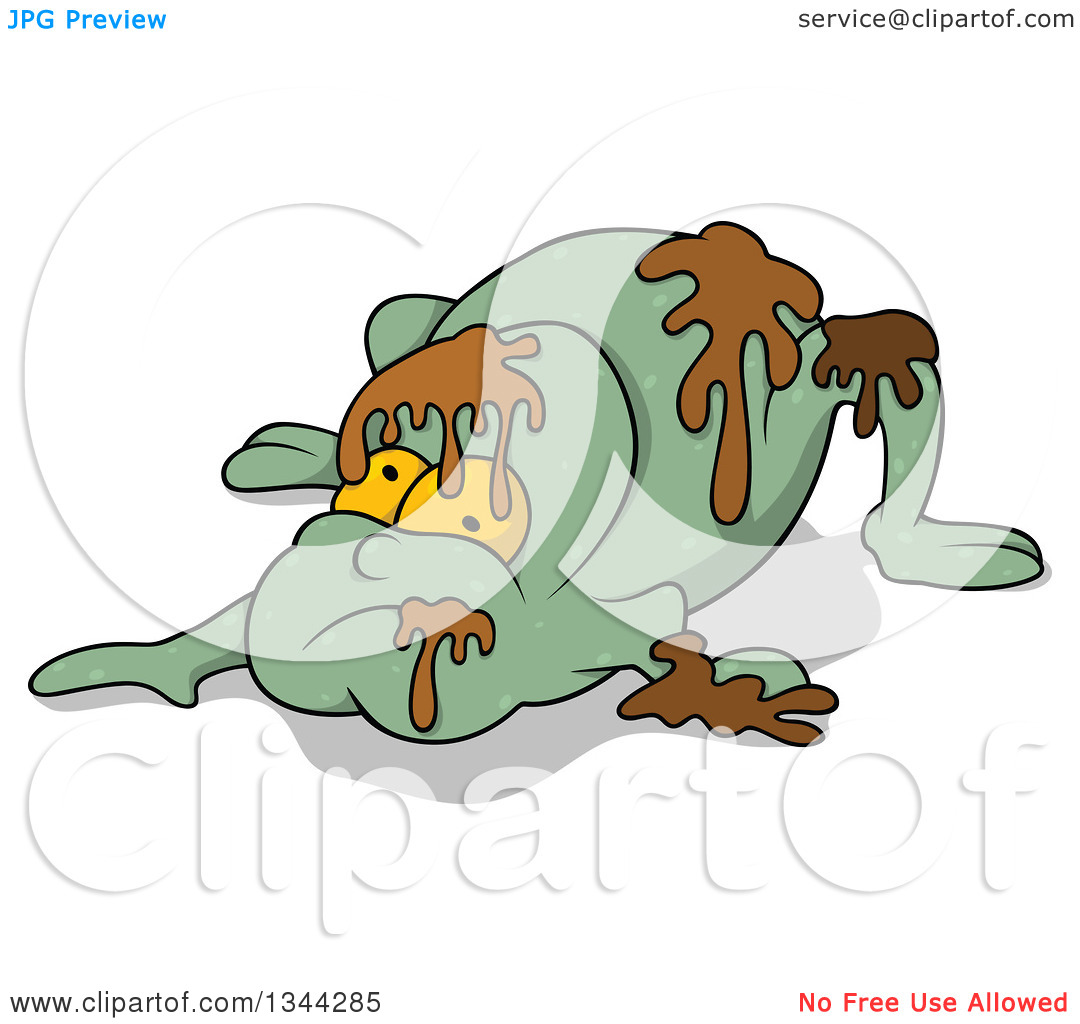 Clipart of a Cartoon Frog like Monster with Slime.