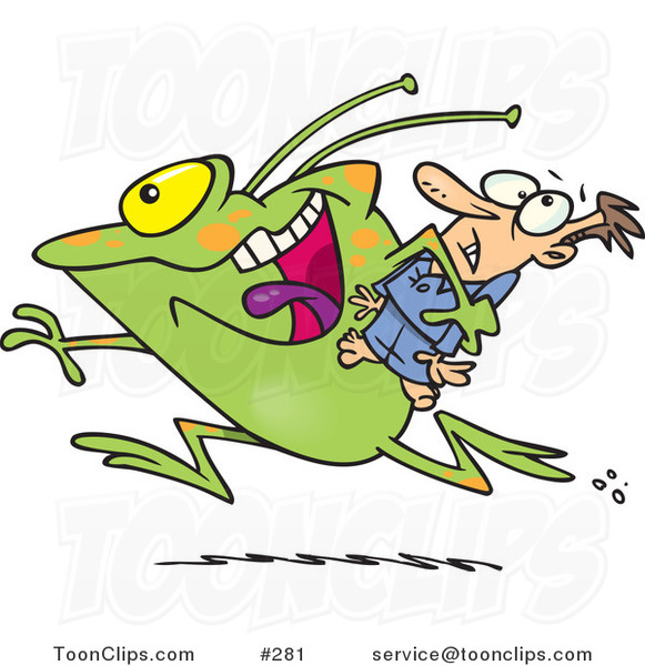 Cartoon Frog like Monster or Alien Abducting a Scared Guy #281 by.