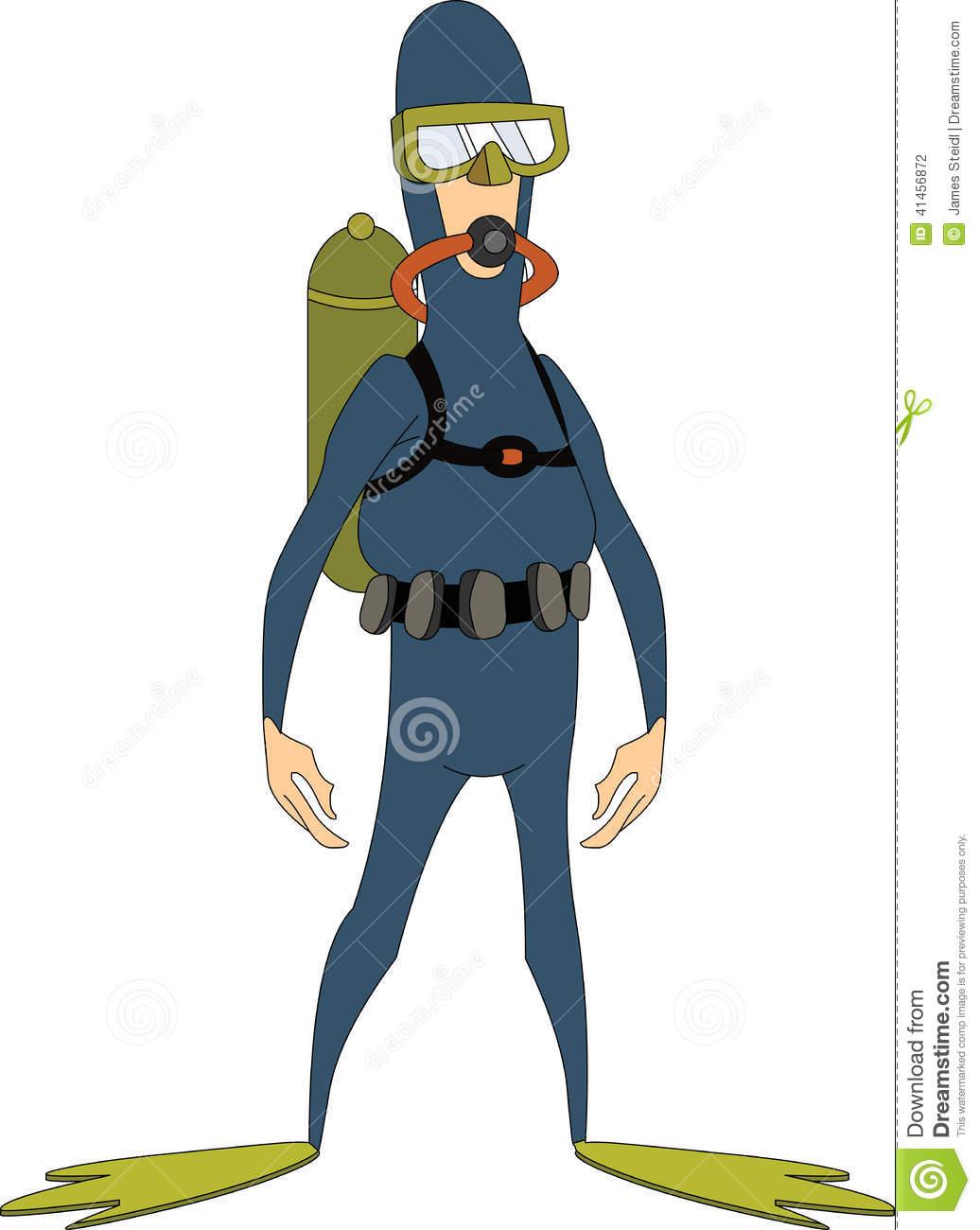 Frogman Diver Stock Vector.