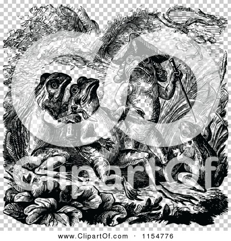 Clipart of a Retro Vintage Black and White Group of Frog Men.