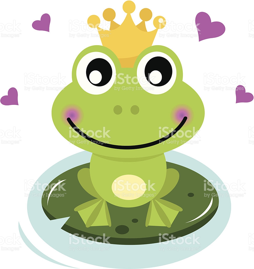 Cute Frog Prince With Hearts stock vector art 164459385.