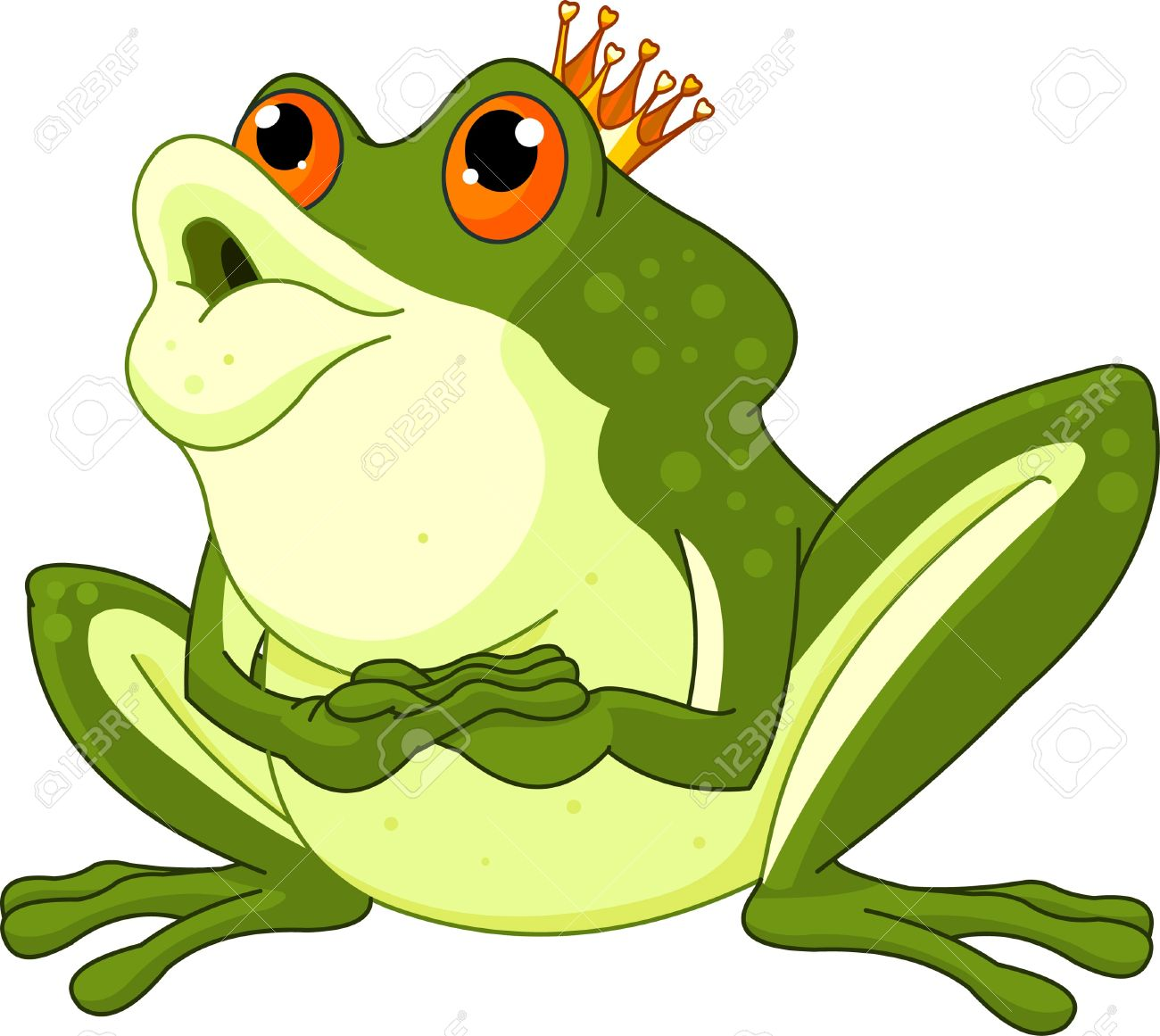 Clip Art Of A Frog Prince Waiting To Be Kissed Royalty Free.