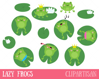 Frog Clip Art, Frogs on Lily Pads.