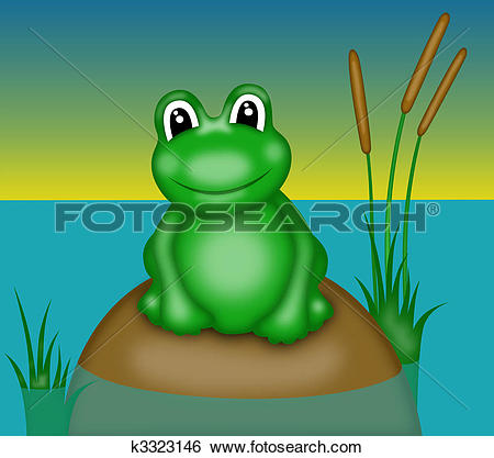 Stock Illustration of frog with big eyes k3323146.