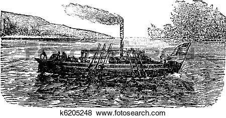 Clip Art of The Steam Boat, experiment, by John Fitch, USA, 1786.