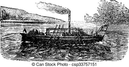 Clipart Vector of The Steam Boat, experiment, by John Fitch, USA.
