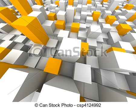 Clip Art of Abstract city from above. 3d rendered illustration.