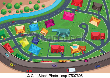 Vector Clipart of Houses in suburban viewed from above.