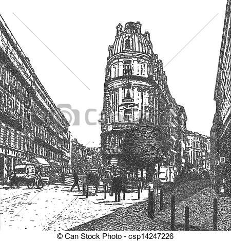 Clip Art of artistic drawing of an old traditional building on a.