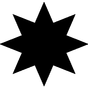 Black 8 sided star clipart.