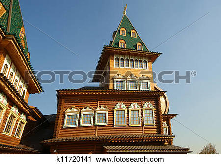 Stock Photography of Wooden palace in Kolomenskoe. Reconstruction.