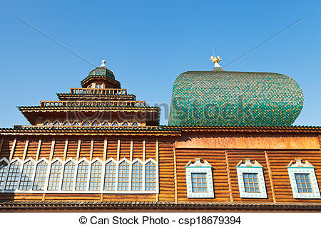 Stock Photographs of windows of Great Wooden Palace in Kolomenskoe.