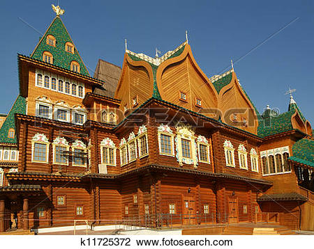 Stock Photo of Wooden palace in Kolomenskoe. Reconstruction of the.