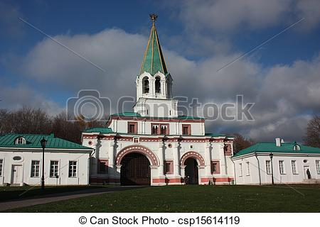 Stock Photography of Manor Kolomenskoe. Front gates.