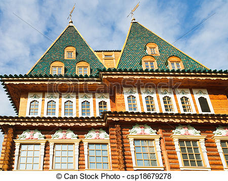 Picture of towers of Great Wooden Palace in Kolomenskoe.