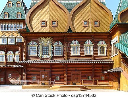 Pictures of kolomenskoe palace wood building landmark in Moskow.