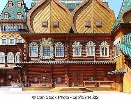 Pictures of kolomenskoe palace wood building landmark in Moskow.